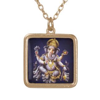 Ganesh Ganeshaヒンズー教のインドのアジアゾウの神 ゴールドプレートネックレス