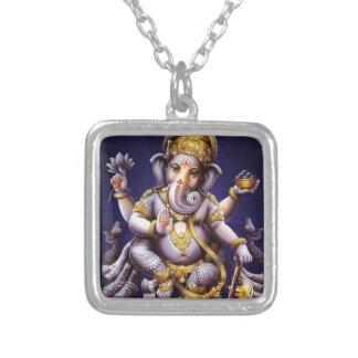 Ganesh Ganeshaヒンズー教のインドのアジアゾウの神 シルバープレートネックレス