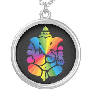Ganeshaの虹の印 シルバープレートネックレス
