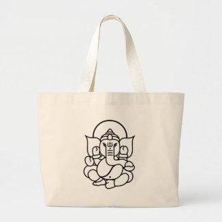 Ganesha象第3 (白黒) ラージトートバッグ