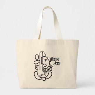 Ganesha象第5 (白黒) ラージトートバッグ
