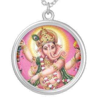 Ganesha踊りの主 シルバープレートネックレス
