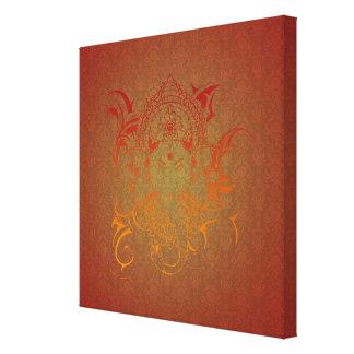 Ganesha -赤いオレンジ黄色のインドの神のヨガ主 キャンバスプリント