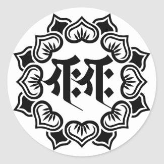 Ganesha bonji(B) 丸形シール・ステッカー