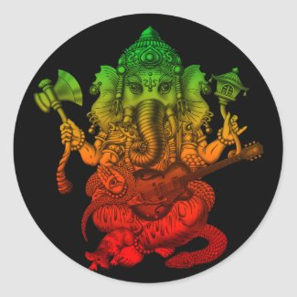Ganesha Guitar 丸形シールステッカー