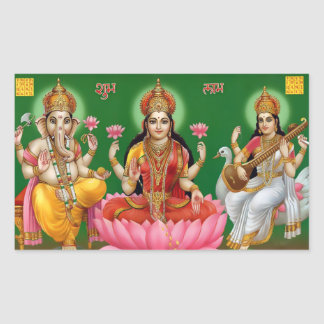 Ganesha、Lakshmi、及びSaraswatiのステッカー 長方形シール
