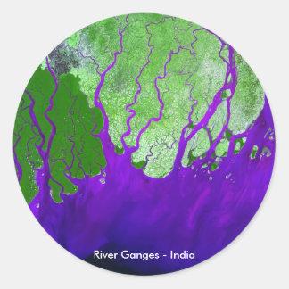 Ganges川のデルタの衛星イメージ-インド ラウンドシール