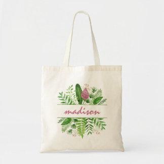 Garden Woods Botanical Typography トートバッグ