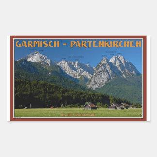 Garmisch - ZugspitzeおよびAlpspitze 長方形シール