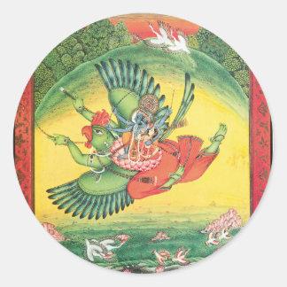 Garudaの素晴らしいのに乗るVishnuおよびLakshmi ラウンドシール