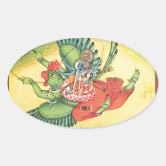 Garudaの素晴らしいのに乗るVishnuおよびLakshmi 楕円形シール