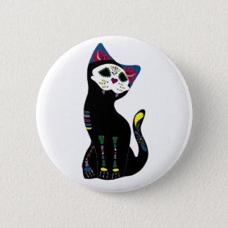 「Gato Muerto」Dia De Los Muertos Cat 5.7cm 丸型バッジ
