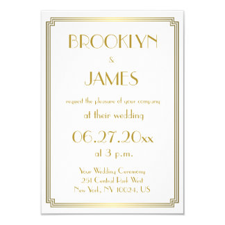 Gatsbyの小さく素晴らしいアールデコの白い結婚式の招待 カード