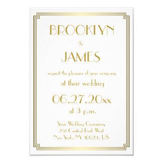 Gatsbyの小さく素晴らしいアールデコの白い結婚式の招待 8.9 X 12.7 インビテーションカード