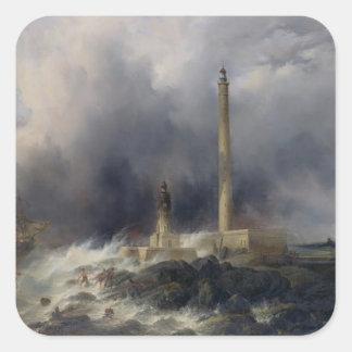 Gattevilleの灯台の眺め スクエアシール