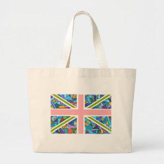 Gaudiのモザイクによってインスパイアイギリスの旗の英国国旗 ラージトートバッグ