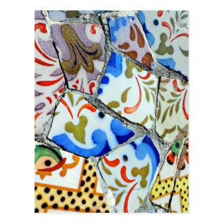 Gaudiの公園のGuellのモザイク・タイル ポストカード