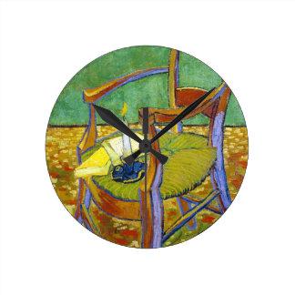 Gauguinの椅子のフィンセント・ファン・ゴッホの絵画 ラウンド壁時計