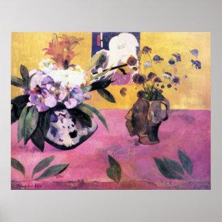Gauguin著日本語Woodblockが付いている静物画 ポスター