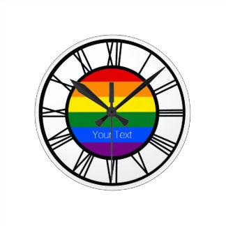 Gay Pride Rainbow Flag LGBT Personalized ラウンド壁時計