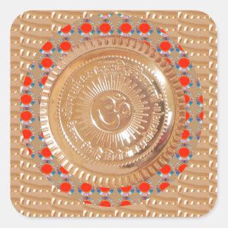GAYATRIの信念n OmMantraの記号のエンボスの金ゴールド スクエアシール