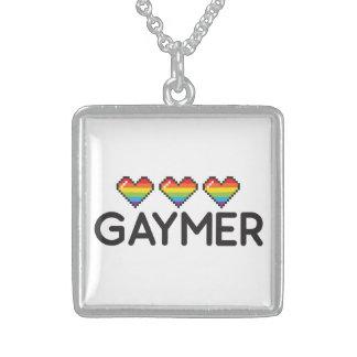Gaymerおもしろいで真面目なLGBTのプライドのハート スターリングシルバーネックレス