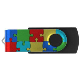 GB黒いパズルの銀、16 USBフラッシュドライブ