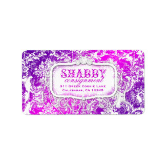 GCのぼろぼろのヴィンテージのピンク及び紫色のダマスク織のラベル ラベル
