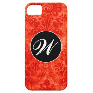GC |のヴィンテージのハバナの赤のダマスク織 iPhone SE/5/5s ケース