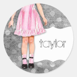 GC |の女の子らしい女の子の人形のピンク ラウンドシール