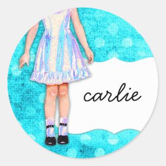 GC |の女の子らしい女の子の人形のファンキーで青いターコイズの点 ラウンドシール