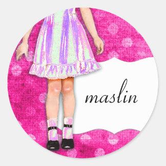 GC |の女の子らしい女の子の人形のファンキーな紫色のピンクの点 ラウンドシール