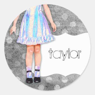 GC |の女の子らしい女の子の人形のファンキーな青 ラウンドシール