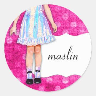 GC  の女の子らしい女の子の人形のファンキーな青 ラウンドシール