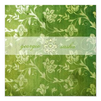 GC  の豪華な緑の花のヴィンテージ 13.3 スクエアインビテーションカード