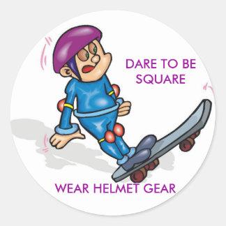 GEDC0305の正方形、衣服のヘルメットのギアがある挑戦 丸型シール