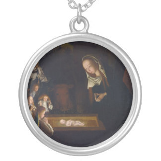 Geertgenの幼児Sint Jansによる出生Geburt Christi シルバープレートネックレス