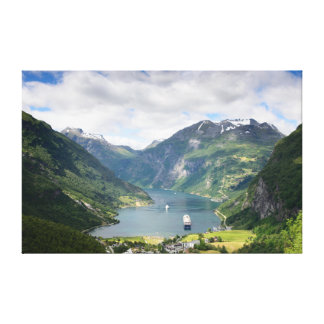 Geirangerfjordの景色のキャンバス キャンバスプリント