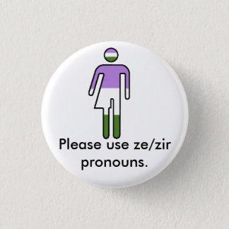 Genderqueer Ze/Zirの代名詞ボタン 3.2cm 丸型バッジ