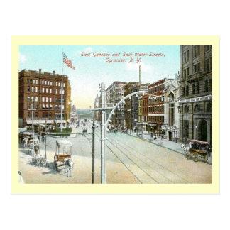 Genesee及び水通り、シラキュース、ニューヨークのヴィンテージ ポストカード
