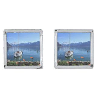 geneva湖の景色、モントルー、スイス連邦共和国 銀色 カフリンク