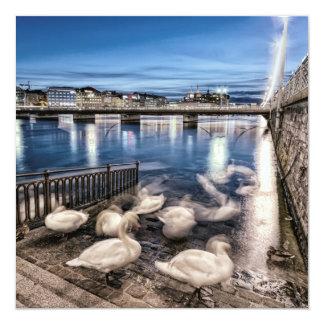 geneva湖、スイス連邦共和国の白鳥の影 カード
