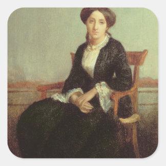 Genevieveセリーヌ1850年のポートレート(キャンバスの油) スクエアシール