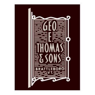 Geo。 E.トマス及び息子のBrattleboro VTのロゴの郵便はがき ポストカード