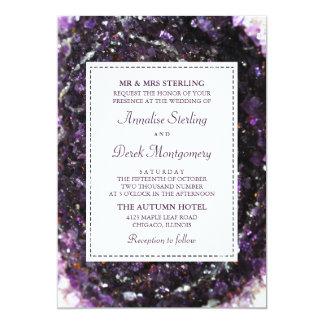 Geode紫色の|のすみれ色の結婚式招待状 カード