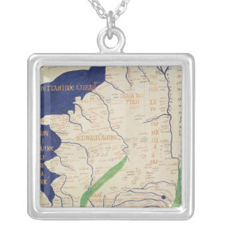 「Geographiaからのフランスの地図、 シルバープレートネックレス