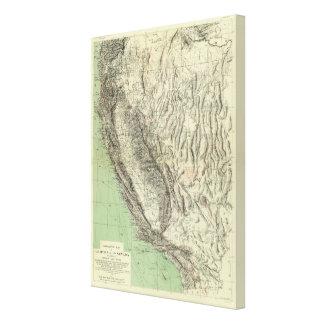 Geomorphic地図、カリフォルニア、ネバダ キャンバスプリント