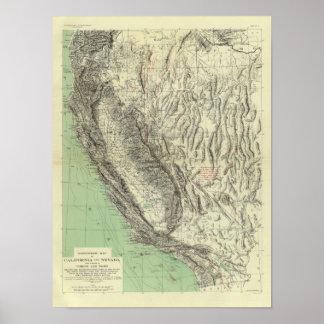 Geomorphic地図、カリフォルニア、ネバダ ポスター