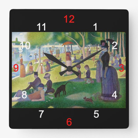 """Georges Seurat""の壁掛け時計,No.02 スクエア壁時計"