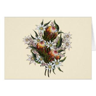 Geraldtonのワックス、フランネルの花、バンクシア カード
